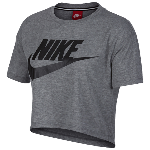 ... Nike Essential Crop T-Shirt - Women's - Grey / Black