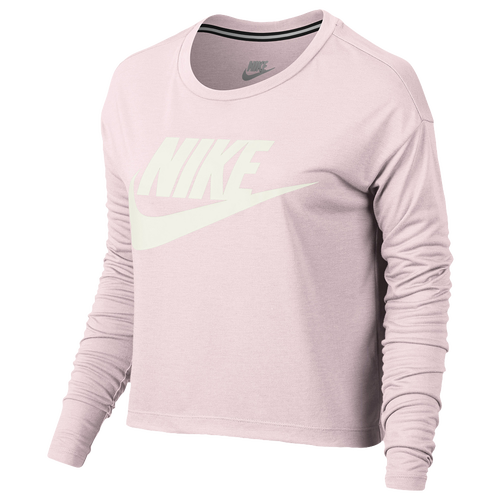 Nike Essential Long Sleeve Crop Top - Women's - Pink / Off-White