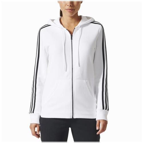 ... adidas Athletics 3-Stripes Cotton Full-Zip Hoodie - Women s - White    Black 6445c848b6